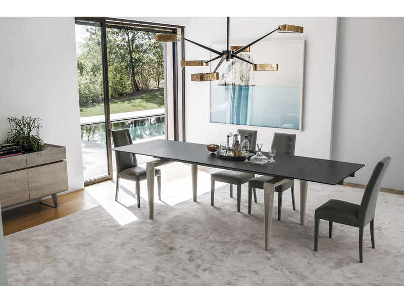 Totem esstisch ausziehbar holzf e mit tischplatte aus for Esstisch ausziehbar metallgestell